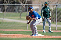 Chicago Cubs first baseman Gustavo Polanco (3) during a Minor League Spring Training game against the Oakland Athletics at Sloan Park on March 19, 2018 in Mesa, Arizona. (Zachary Lucy/Four Seam Images)