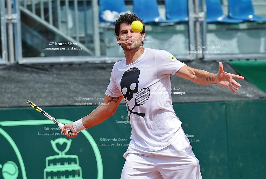 - NAPOLI 2 APR  2014 -  Coppa Davis  Italia-Gran Bretagna <br /> allenamenti. nella foto SIMONE BOLELLI