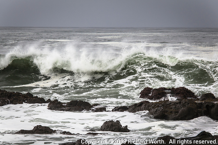 A curling wave heads toward the rocks at Bean Hollow State Beach.