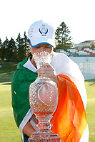 6th September 2021: Toledo, Ohio, USA;  Leona Maguire of Team Europe drinks champagne from the Solheim Cup after winning the Solheim Cup on September 6, 2021 at Inverness Club in Toledo, Ohio.   Europe retained the Solheim Cup with a hard-fought 15-13 victory over the United States