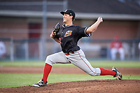 Batavia Muckdogs relief pitcher Karl Craigie (12) delivers a pitch during a game against the Auburn Doubledays on June 15, 2018 at Falcon Park in Auburn, New York.  Auburn defeated Batavia 5-1.  (Mike Janes/Four Seam Images)