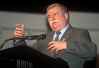 Lech Walesa speaks about his auto biography at Oakland University in Rochester , Michigan.