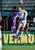 5 October 2019: University at Albany Great Dane Forward Austin DaSilva, a Sophomore from Brookfield, CT, goes up against University of Vermont Catamount Defender Arnar Steinn Hansson, a Senior from Garðabær, Iceland, at Virtue Field in Burlington, Vermont. The Catamounts fell to the visiting Danes 3-1 in America East, Division 1 play. Mandatory Credit: Ed Wolfstein Photo *** RAW (NEF) Image File Available ***
