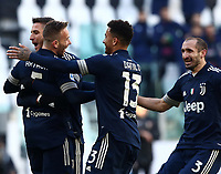 Calcio, Serie A: Juventus - Bologna, Turin, Allianz Stadium, January 24, 2021.<br /> Juventus' Arthur (l) celebrates after scoring with his teammates during the Italian Serie A football match between Juventus and Bologna at the Allianz stadium in Turin, January 24, 2021.<br /> UPDATE IMAGES PRESS/Isabella Bonotto