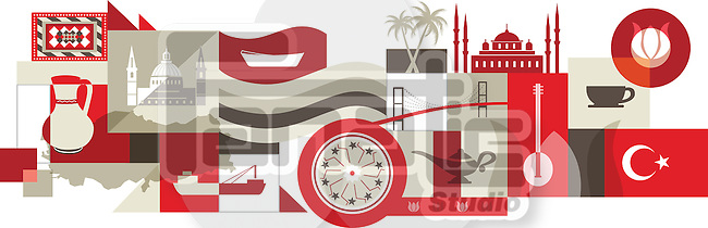 Illustrative collage of Turkey over white background