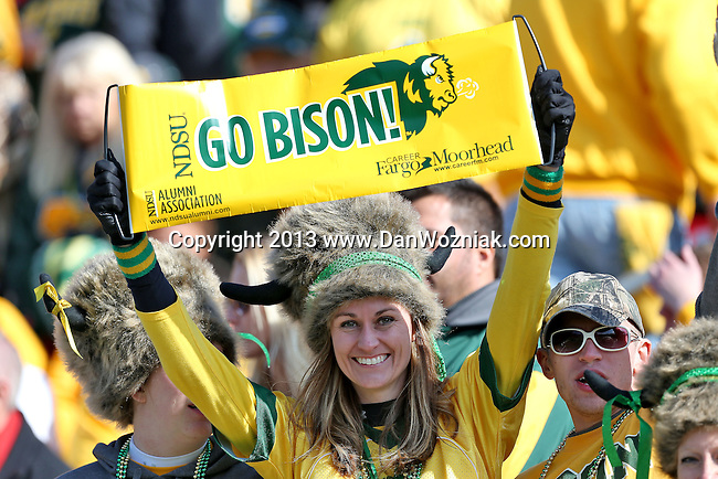 North Dakota State Bison and Sam Houston State Bearkats fans watch and enjoy the action during the FCS Championship game between the North Dakota State Bison and the Sam Houston State Bearkats at the FC Dallas Stadium in Frisco, Texas. North Dakota defeats Sam Houston 39 to 13..