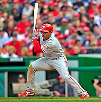13 April 2009: Philadelphia Phillies' outfielder Raul Ibanez at bat during the Washington Nationals' Home Opener at Nationals Park in Washington, DC. The Nats fell short in their 9th inning rally, losing 9-8, as the visiting Phillies handed the Nats their 7th consecutive loss of the 2009 season. Mandatory Credit: Ed Wolfstein Photo