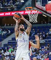 13th October 2021; Wizink Center; Madrid, Spain; Turkish Airlines Euroleague Basketball; game 3; Real Madrid versus AS Monaco; Vincent Poirier (Real Madrid Baloncesto) lays up at the net