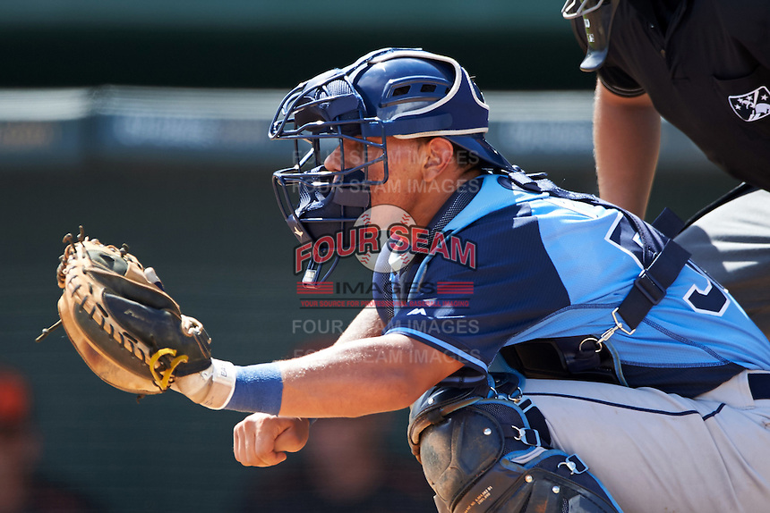 Tampa Bay Rays Rene Pinto (50) during an instructional league game against the Baltimore Orioles on September 25, 2015 at Ed Smith Stadium in Sarasota, Florida.  (Mike Janes/Four Seam Images)