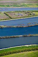 aerial photograph of deteriorating levees Sacramento San Joaquin river delta, California