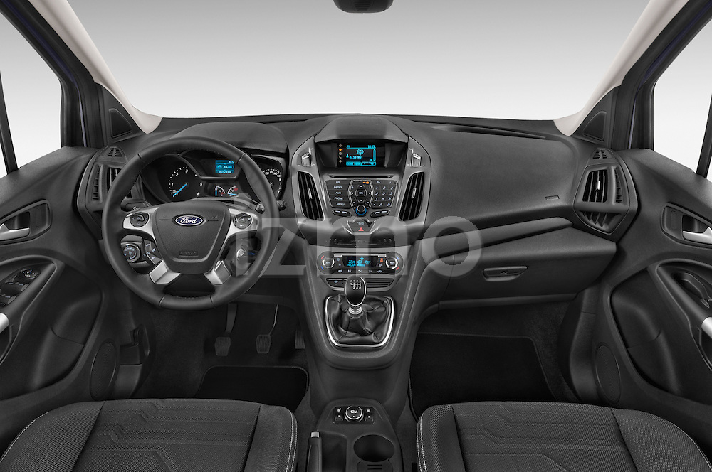 Stock photo of straight dashboard view of a 2015 Ford Grand Tourneo Connect Titanium 5 Door Minimpv Dashboard