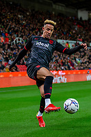 1st October 2021;  Bet365 Stadium, Stoke, Staffordshire, England; EFL Championship football, Stoke City versus West Bromwich Albion; Callum Robinson of West Bromwich Albion controls the ball