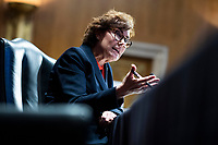 """United States Senator Jacky Rosen (Democrat of Nevada), directs a question to Mark A. Morgan, acting commissioner of the U.S. Customs and Border Protection, during the US Senate Homeland Security and Governmental Affairs Committee hearing titled """"CBP Oversight: Examining the Evolving Challenges Facing the Agency,"""" in Dirksen Senate Office Building on Thursday, June 25, 2020.<br /> Credit: Tom Williams / Pool via CNP/AdMedia"""