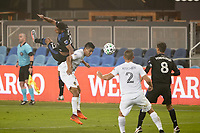 SAN JOSE, CA - SEPTEMBER 13: Marcos Lopez #27 of the San Jose Earthquakes goes up for a header during a game between Los Angeles Galaxy and San Jose Earthquakes at Earthquakes Stadium on September 13, 2020 in San Jose, California.