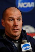 Virginia Cavaliers head coach George Gelnovatch during a press conference the day prior to the finals of the 2009 NCAA Men's College Cup at WakeMed Soccer Park in Cary, NC on December 12, 2009.
