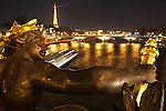 The night View of River Seine with Eiffel Tower from the Alexandre III bridge, Paris, France, Europe