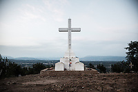 The concrete cross dated 1933. It marks the end of the Via Crucis on top of the Mt. Krizevac.<br /> Medjugorje, Bosnia and Herzegovina. July 2012