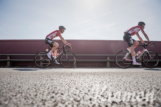 Tim Wellens (BEL/Lotto-Soudal) & Frederik Frison (BEL/Lotto-Soudal) on their way to the start<br /> <br /> 12th Eneco Tour 2016 (UCI World Tour)<br /> Stage 6: Riemst › Lanaken (185km)