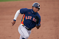 Houston Astros Jeremy Peña (89) running the bases during a Major League Spring Training game against the St. Louis Cardinals on March 20, 2021 at Roger Dean Stadium in Jupiter, Florida.  (Mike Janes/Four Seam Images)