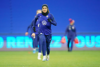 LE HAVRE, FRANCE - APRIL 13: Julie Ertz #8 of the United States warming up before a game between France and USWNT at Stade Oceane on April 13, 2021 in Le Havre, France.