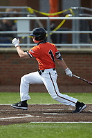 Grant Harris (1) of the Campbell Camels follows through on his swing against the Dayton Flyers at Jim Perry Stadium on February 28, 2021 in Buies Creek, North Carolina. The Camels defeated the Flyers 11-2. (Brian Westerholt/Four Seam Images)