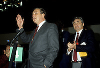 Ed Broadbent, Leader (L) and<br /> Michel Agnieff, Associate President (R) of the New Democratic Party - Parti Democratique (NDP-NPD) at the March 1987 convention in Montreal.