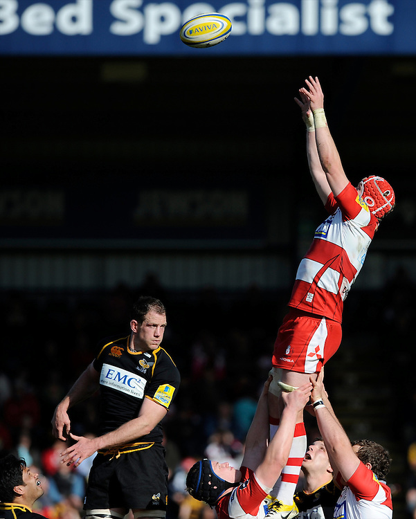 Luke Narraway of Gloucester Rugby wins the lineout during the Aviva Premiership match between London Wasps and Gloucester Rugby at Adams Park on Sunday 1st April 2012 (Photo by Rob Munro)