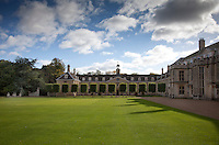 A row of clipped trees border the lawn in the north front courtyard parallel with the stables wing built in 1690