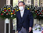 August 15, 2020, Tokyo, Japan - Japanese Chief Cabinet Secretary Yoshihide Suga leaves the Chidorigafuchi National Cemetery after he offered a flower bouquet to war victims in Tokyo on Saturday, August 15, 2020. Japan marked the 75th anniversary of its surrender of World War II.        (Photo by Yoshio Tsunoda/AFLO)