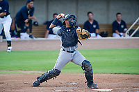 AZL Padres 2 catcher Luis Campusano (25) throws a ball to second base between innings of a game against the AZL Brewers on September 2, 2017 at Maryvale Baseball Park in Phoenix, Arizona. AZL Brewers defeated the AZL Padres 2 2-0. (Zachary Lucy/Four Seam Images)