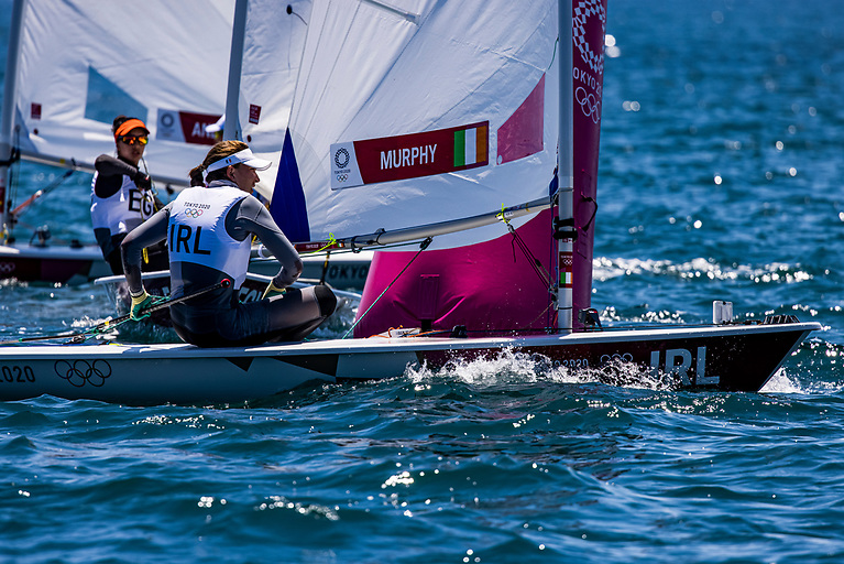 A strong sail yesterday saw Annalise Murphy finish in first and second place in Races 7 and 8 to leave her at 14th overall, so a big push was still needed today to qualify into the Top 10 today, but with light winds at Enoshima, it was a tough sail for Murphy