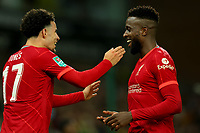 21st September 2021; Carrow Road, Norwich, England; EFL Cup Footballl Norwich City versus Liverpool; Divock Origi of Liverpool celebrates after he scores with Curtis Jones for 0-2 in the 50th minute