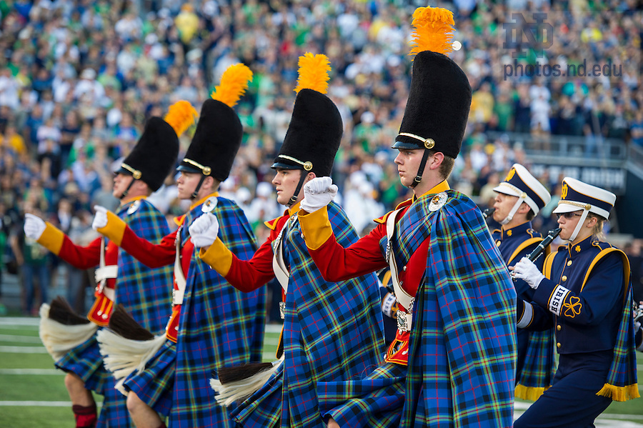Sept. 6, 2014; Irish guard and Notre Dame Marching Band perform prior to the Michigan game. (Photo by Barbara Johnston/ University of Notre Dame)