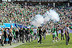 """Smoke settles after the """"Boomer"""" cannon goes off after a UNT score during the Zaxby's Heart of Dallas Bowl game between the Army Black Knights and the North Texas Mean Green at the Cotton Bowl Stadium in Dallas, Texas."""