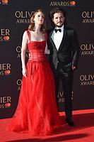 Rose Leslie and Kat Harrington<br /> arriving for the Olivier Awards 2017 at the Royal Albert Hall, Kensington, London.<br /> <br /> <br /> ©Ash Knotek  D3245  09/04/2017