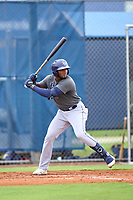Tampa Bay Rays Oneill Manzueta bats during an Extended Spring Training intrasquad game on June 15, 2021 at Charlotte Sports Park in Port Charlotte, Florida.  (Mike Janes/Four Seam Images)