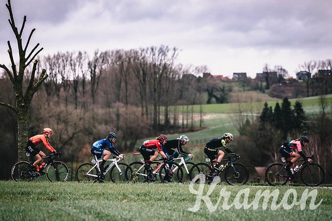 Peloton riding the Haaghoek cobbles<br /> <br /> 12th Women's Omloop Het Nieuwsblad 2020 (BEL)<br /> Women's Elite Race <br /> Gent – Ninove: 123km<br /> <br /> ©kramon