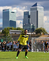 London, UK on Sunday 31st August, 2014. James Arthur with Canary Wharf in the background during the Soccer Six charity celebrity football tournament at Mile End Stadium, London.