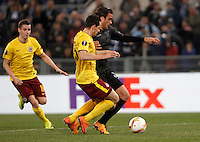 Calcio, Europa League: Lazio vs Sparta Praga. Roma, stadio Olimpico, 17 marzo 2016.<br /> Lazio's Alessandro Matri, right, is challenged by Sparta Praha's Mario Holek during the round of 16 second leg soccer match between Lazio and Sparta Praha, at Rome's Olympic Stadium, 17 March 2016. Sparta Praha won 3-0 to join the quarter finals.<br /> UPDATE IMAGES PRESS/Isabella Bonotto