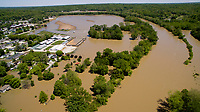 Flooding is pictured looking east along the White River at Cooper's Commons park in Spencer, Indiana on Sunday, May 7, 2017. Pictured in the background is the Owen County Fairgrounds. (Photo by James Brosher)