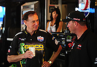 May 1, 2011; Baytown, TX, USA: NHRA sponsor and team owner Forrest Lucas (left) talks with Brian Thiel during the Spring Nationals at Royal Purple Raceway. Mandatory Credit: Mark J. Rebilas-
