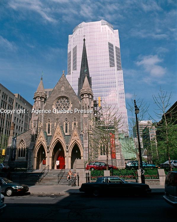 Montreal (Qc) CANADA - 1998 file photo -<br /> Promenades de la Cathedrale in downtown Montreal.<br /> <br /> PHOTO :  Agence Quebec Presse