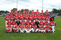 Batavia Muckdogs team photo before a game against the State College Spikes on July 29, 2013 at Dwyer Stadium in Batavia, New York.  First row James Wooster, Justin Bohn, Reid Redman, Avery Romero, CoCo Johnson, Luis Ortiz, Miguel Del Pozo;  Second row C.J. Robinson, Javier Lopez, Patrick Gifford, Brendan Sagara, Angel Espada, Rigoberto Silverio, Mike Bibbo, Felix Castillo, Yefri Perez, Domingo German;  Third row Patrick Merkling, Robert Ravago, Chad Wallach, Brian Ellington, Dane Stone, Justin Jackson, Scott Carcaise, Austin Dean, Jarlin Garcia, Felix Munoz, John Versage (clubhouse director); Fourth row Carlos Lopez, J.T. Riddle, Connor Burke, Josh Easley, Michael Vaughn, Casey McCarthy, Ryan Newell, Trevor Williams, Max Garner.  (Mike Janes/Four Seam Images)
