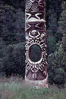 Gitxsan (Gitksan aka Tsimshian) Totem Pole, Gitanyow (Kitwancool), Northern BC, British Columbia, Canada - Totem called Hole in the Ice