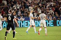 CARSON, CA - SEPTEMBER 21: Zlatan Ibrahimovic #9 of the Los Angeles Galaxy celebrate his goal during a game between Montreal Impact and Los Angeles Galaxy at Dignity Health Sports Park on September 21, 2019 in Carson, California.