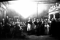 Gen. Washington Resigning his Commission to Congress.  Annapolis, Md.  Dec. 23d, 1783.  Copy of painting by John Trumbull, 1822-24.  (Dept. of Agriculture)<br /> Exact Date Shot Unknown<br /> NARA FILE #:  016-AD-16<br /> WAR & CONFLICT BOOK #:  55