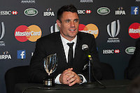 Dan Carter of New Zealand speaks to the media as Dan Carter looks on at the World Rugby Awards 2015  - 01/11/2015 - Battersea Evolution, London<br /> Mandatory Credit: Rob Munro/Stewart Communications