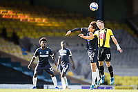 Lloyd Kerry, Harrogate Town,  out jumps Lewis Gard, Southend United, during Southend United vs Harrogate Town, Sky Bet EFL League 2 Football at Roots Hall on 12th September 2020