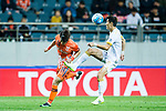 Adelaide United Midfielder Kim Jaesung (R) trips up with Jeju United Midfielder Lee Changmin (L) during the AFC Champions League 2017 Group Stage - Group H match between Jeju United FC (KOR) vs Adelaide United (AUS) at the Jeju World Cup Stadium on 11 April 2017 in Jeju, South Korea. Photo by Marcio Rodrigo Machado / Power Sport Images