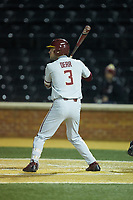 Nick Derr (3) of the Florida State Seminoles at bat against the Wake Forest Demon Deacons at David F. Couch Ballpark on March 9, 2018 in  Winston-Salem, North Carolina.  The Seminoles defeated the Demon Deacons 7-3.  (Brian Westerholt/Four Seam Images)
